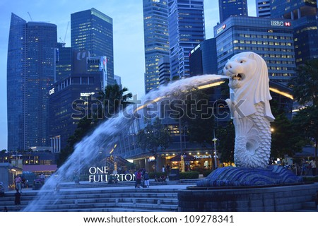 Singapore Merlion Picture Symbol on Photo Singapore Apr Th E Merlion Fountain Apr In Singapore Merlion