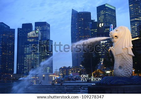 SINGAPORE-Apr 30:Th e Merlion fountain  Apr 30, 2012 in Singapore.Merlion is a mythical creature with the head of a lion and the body of a fish,and is a symbol of Singapore.