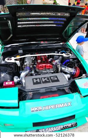 SINGAPORE - APRIL 24: Engine bay of drift car at Singapore Formula Drift at F1 Pit Building April 24, 2010 in Singapore