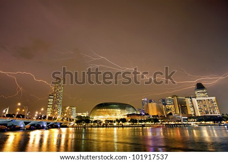 SINGAPORE - APRIL 23: Esplanade � Theatres on the Bay, a waterside building located alongside Marina Bay, April 23, 2012, Singapore. The center for performing arts in Singapore - stock photo