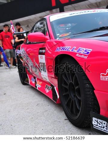 SINGAPORE - APRIL 25: Nattapol\'s drift car at Singapore Formula Drift at F1 Pit Building April 25, 2010 in Singapore