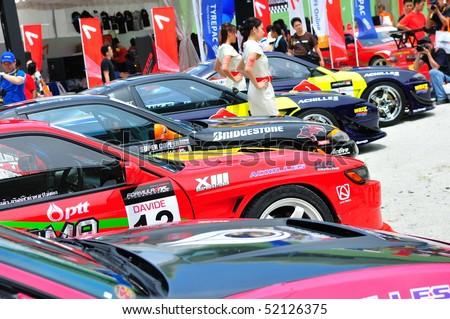 SINGAPORE - APRIL 24: Row of drift cars at Singapore Formula Drift at F1 Pit Building April 24, 2010 in Singapore