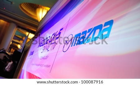 SINGAPORE - APRIL 13: Stage backdrop at launch event of Mazda CX-5 crossover SUV  April 13, 2012 in Singapore