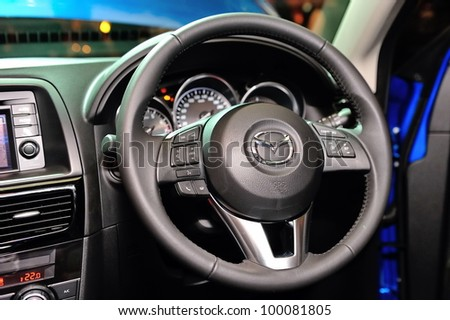 SINGAPORE - APRIL 13: Steering wheel and interior of new Mazda CX-5 at its launch event April 13, 2012 in Singapore
