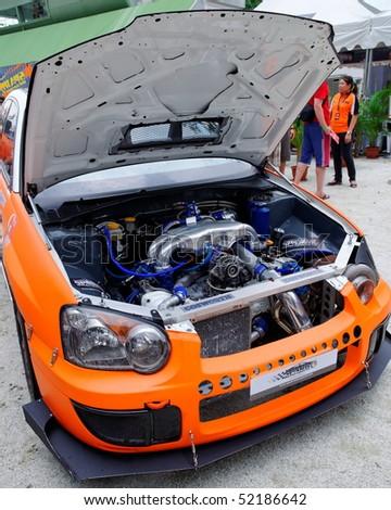 SINGAPORE - APRIL 25: Subaru WRX drift car at Singapore Formula Drift at F1 Pit Building April 25, 2010 in Singapore
