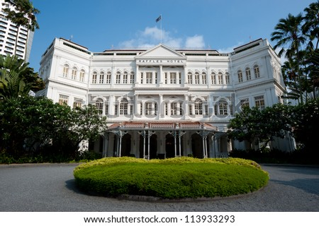 SINGAPORE - APRIL 23: The Raffles Hotel opened in 1899, and is named after Singapore's founder Sir Stamford Raffles. April 23, 2011 in Singapore