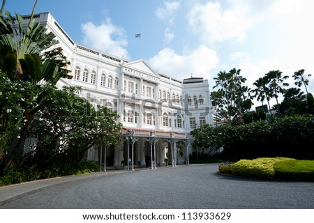 SINGAPORE - APRIL 23: The Raffles Hotel opened in 1899, and is named after Singapore's founder Sir Stamford Raffles. April 23, 2011 in Singapore, Singapore