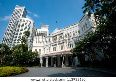 SINGAPORE - APRIL 23: The Raffles Hotel opened in 1899, and is named after Singapore's founder Sir Stamford Raffles. April 23, 2011 in Singapore,
