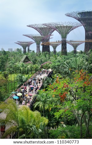 SINGAPORE-AUG 5: Day view of The Supertree Grove at Gardens by the Bay on Aug 5, 2012 in Singapore. Spanning 101 hectares, and five-minute walk from Bayfront MRT Station.