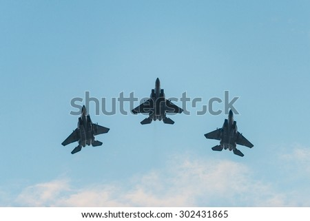 Singapore - Aug 01, 2015:Fiftieth anniversary of the Singapore 50 years National Day rehearsal, fighter formation flew over the city