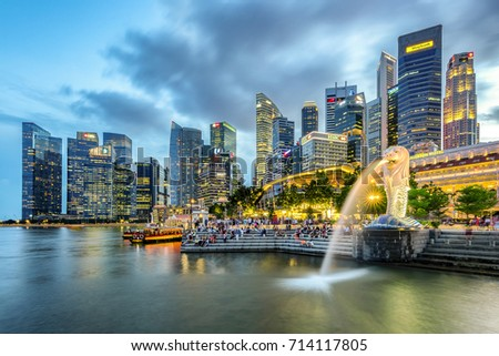 SINGAPORE - AUG 10 ,2017 : Merlion statue and cityscape in Singapore. #714117805