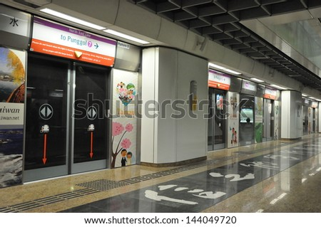SINGAPORE - AUGUST 15: The Mass Rapid Transit (MRT) station in Singapore as seen on August 15, 2012. The MRT has 102 stations & is the second-oldest metro system in Southeast Asia, after Manila's LRT.
