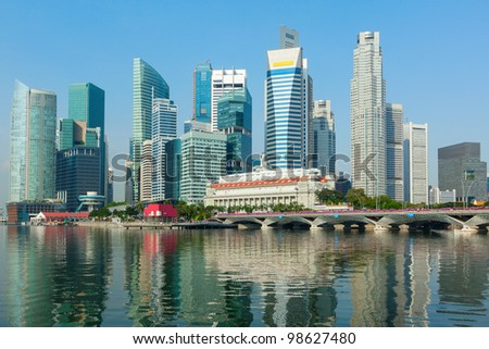 Singapore business district skyscrapers and Marina Bay in day cityscape