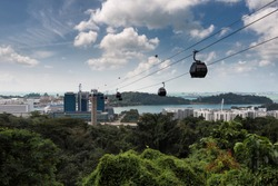 Singapore Cable Car, a cablle car ride from Mt. Faber Park to Sentosa Island in Singapore