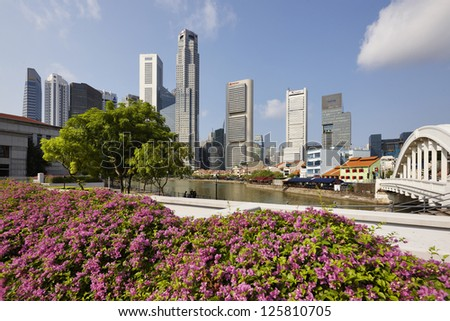 Singapore center with skyscrapers
