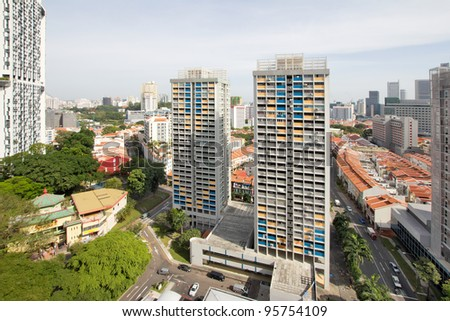 Singapore Chinatown Cityscape Aerial View