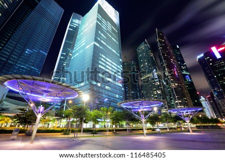 Singapore City at dusk - stock photo