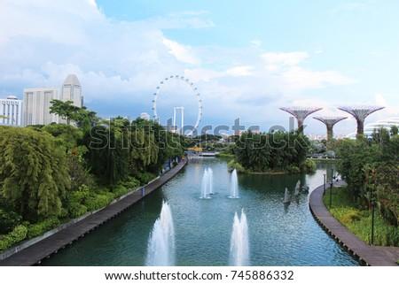 Singapore city forest green garden outdoors sky line stock photo