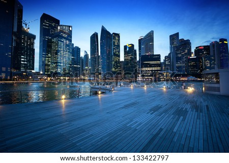 Singapore city in sunset time #133422797