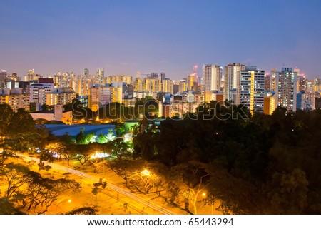 singapore city scape at dusk