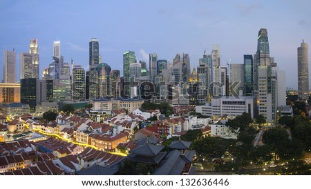 Singapore City Skyline And Chinatown Area at Blue Hour Panorama - stock photo