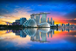 Singapore city skyline at dusk