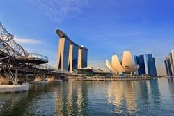Singapore city skyline at Marina Bay cityscape