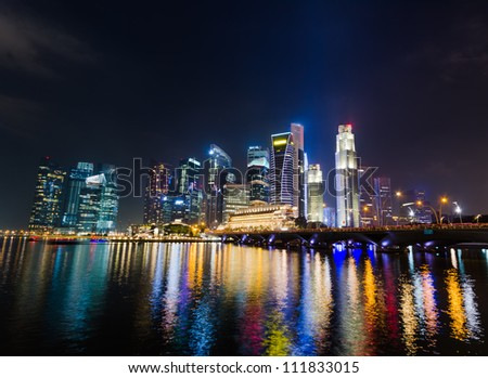 Singapore city skyline at night.