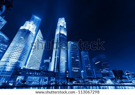 Singapore city skyline at night. #113067298