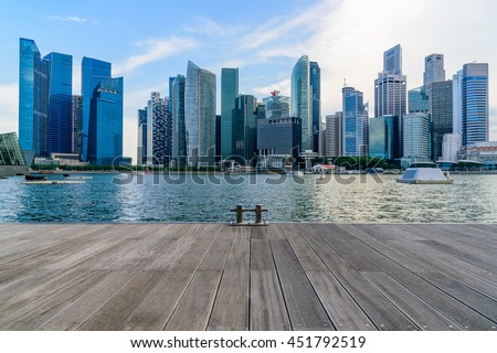 Singapore city skyline of business district downtown in daytime. #451792519