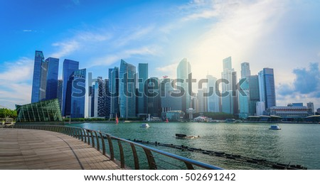 Singapore city skyline of business district downtown in daytime. #502691242