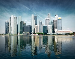 Singapore city skyline of business district downtown in daytime. Vintage retro effect filtered image of