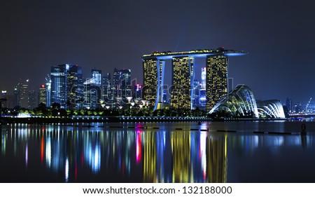Singapore cityscape at night Stock photo ©