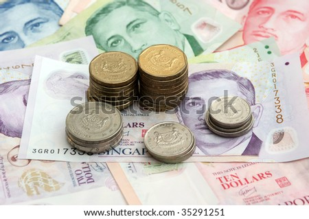 Singapore Coin Picture on Singapore Coins Tower On Singapore Bank Note Stock Photo 35291251