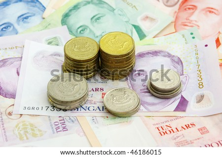Singapore Coin Picture on Singapore Coins Tower On Singapore Bank Note Stock Photo 46186015