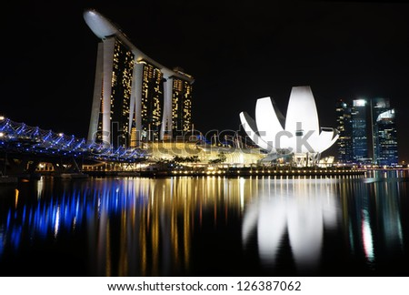 SINGAPORE - DEC 29: Night view of Marina Bay Sands Resort Hotel on Dec 29, 2012 in Singapore. It is billed as the world's most expensive standalone casino property.