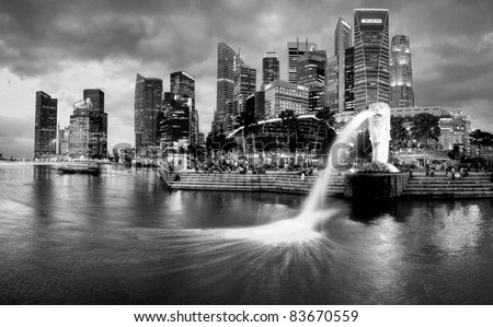 Singapore Merlion Picture Symbol on Singapore Dec 29  The Merlion Fountain And Singapore Skyline On Dec