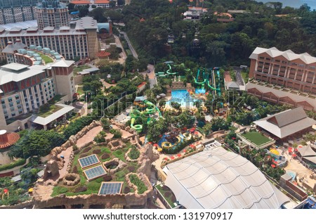 SINGAPORE - DECEMBER 28: aerial view of entertainment complex on December 28, 2012 in Sentosa, Singapore. Sentosa is popular island resort in Singapore with more than 5 mln visitors per year.