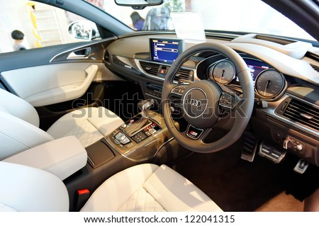 SINGAPORE - DECEMBER 15: Interior of Audi S6 sports sedan during opening of the new Audi Centre Singapore December 15, 2012 in Singapore