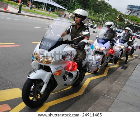 Singapore - December 07: Military Police On Motorbikes, Ready To ...