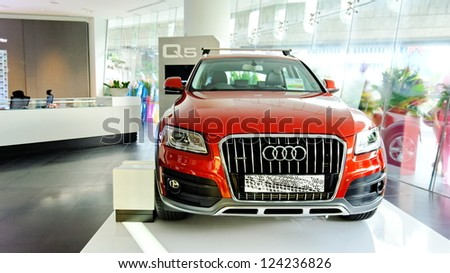 SINGAPORE - DECEMBER 15: New Audi Q5 luxury crossover SUV on display at the opening of the new Audi Centre Singapore December 15, 2012 in Singapore