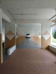 Singapore-December 27th 2018: View of void deck under the HDB building.