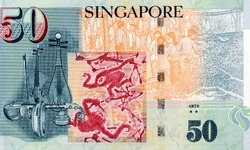 Singapore 50 Dollars 2010 Banknotes. Collection.
