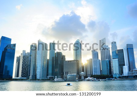 Singapore downtown at sunset