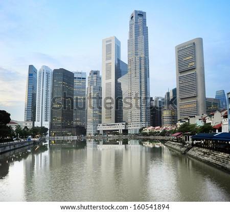 Singapore downtown in the beautiful dawn - stock photo