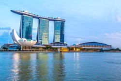 SINGAPORE-Feb 7, 2015: Marina Bay Sands Hotel