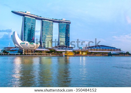 SINGAPORE-Feb 7, 2015: Marina Bay Sands Hotel #350484152