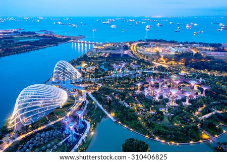 SINGAPORE - February 22 2015: Aerial night view of The Supertree Grove at Gardens near Marina Bay. Gardens by Bay was crowned World Building of Year at World Architecture Festival 2012