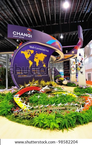 SINGAPORE - FEBRUARY 17: Changi Airport Group exhibition booth at Singapore Airshow February 17, 2012 in Singapore