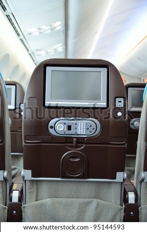 SINGAPORE - FEBRUARY 12: Close-up shot of personal inflight entertainment system in Boeing 787 Dreamliner at Singapore Airshow February 12, 2012 in Singapore